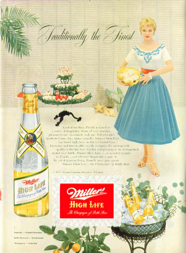 Traditionally the Finest Miller High Life Beer ad 1954 Florida party