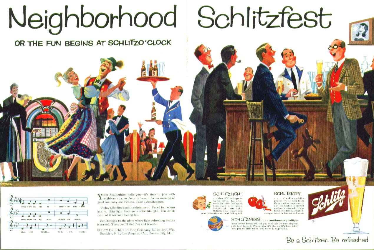 Neighborhood Schlitzfest fun begins at Schlitzo'clock beer ad 1957