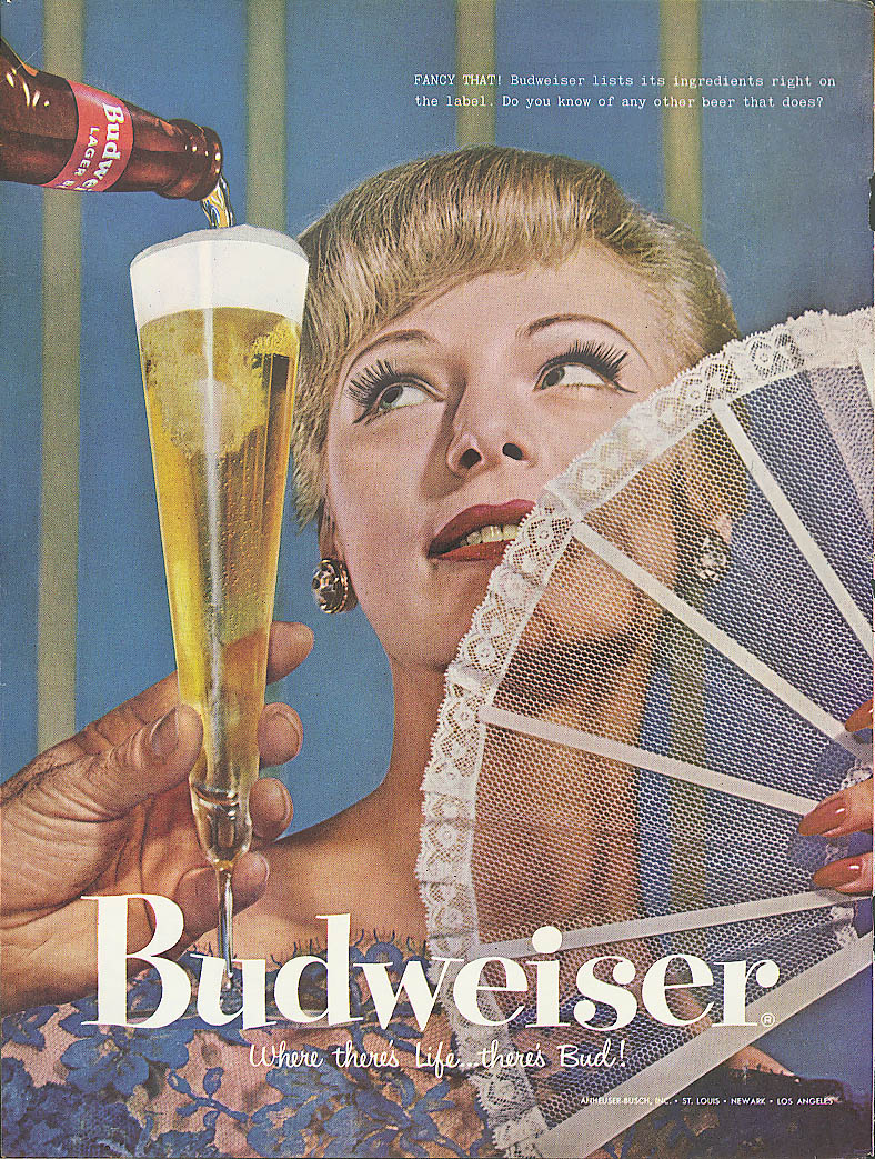 Fancy that! Lady with fan Budweiser beer ad 1957