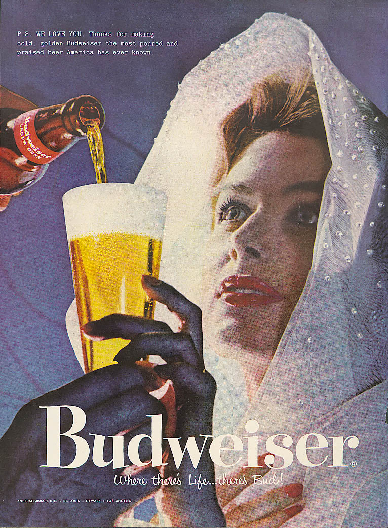 P S We love you lady in shawl Budweiser beer ad 1957