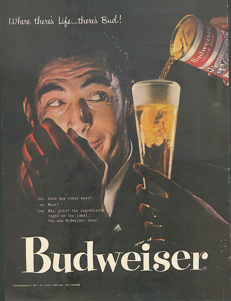 Image for Lighting up and a Budweiser beer ad 1957