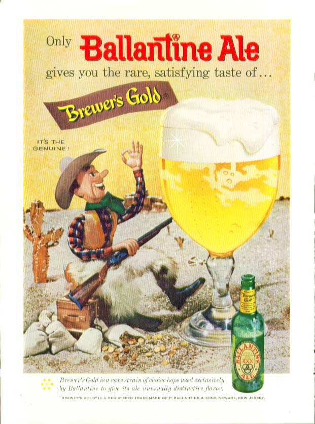 Only Ballantine Ale gives you rare satisfying taste of Brewer's Gold ad 1958