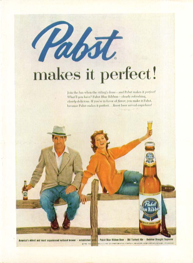 Pabst makes it perfect! beer ad 1958 Suzy Parker ?