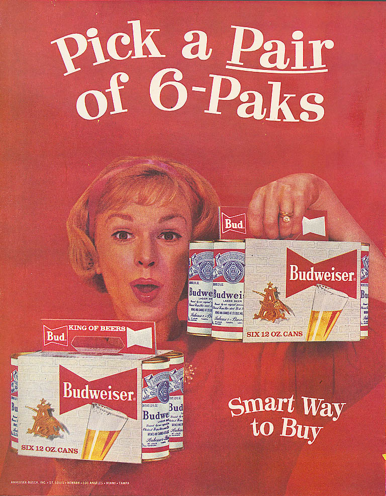 Image for Pick a Pair of 6-Paks Budweiser beer ad 1959