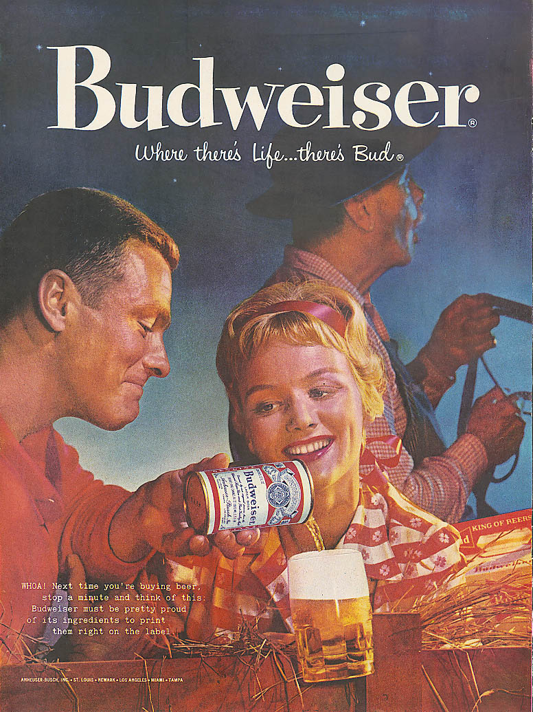 Whoa! Couple on hayride Budweiser beer ad 1959