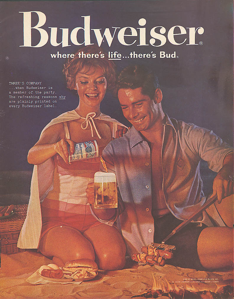 Image for Hotdog cookout on beach Budweiser beer ad 1960