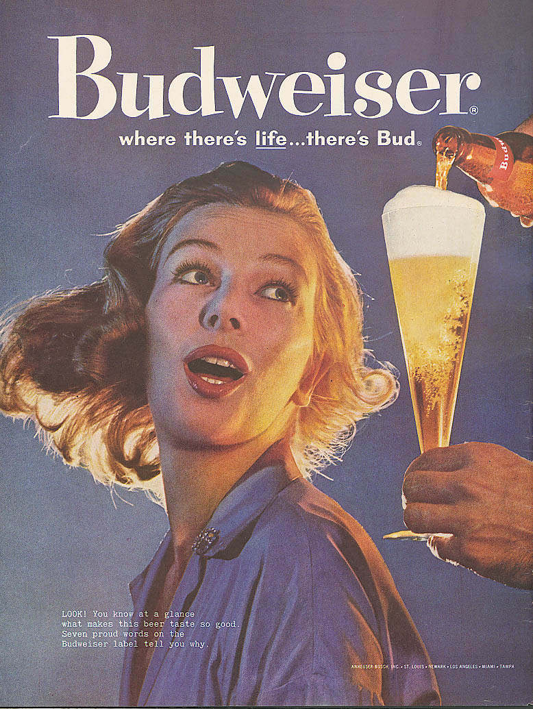 Look! Redhead turns for a Budweiser beer ad 1960