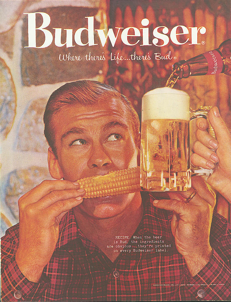 Corn on the cob & a mugful of Budweiser beer ad 1960