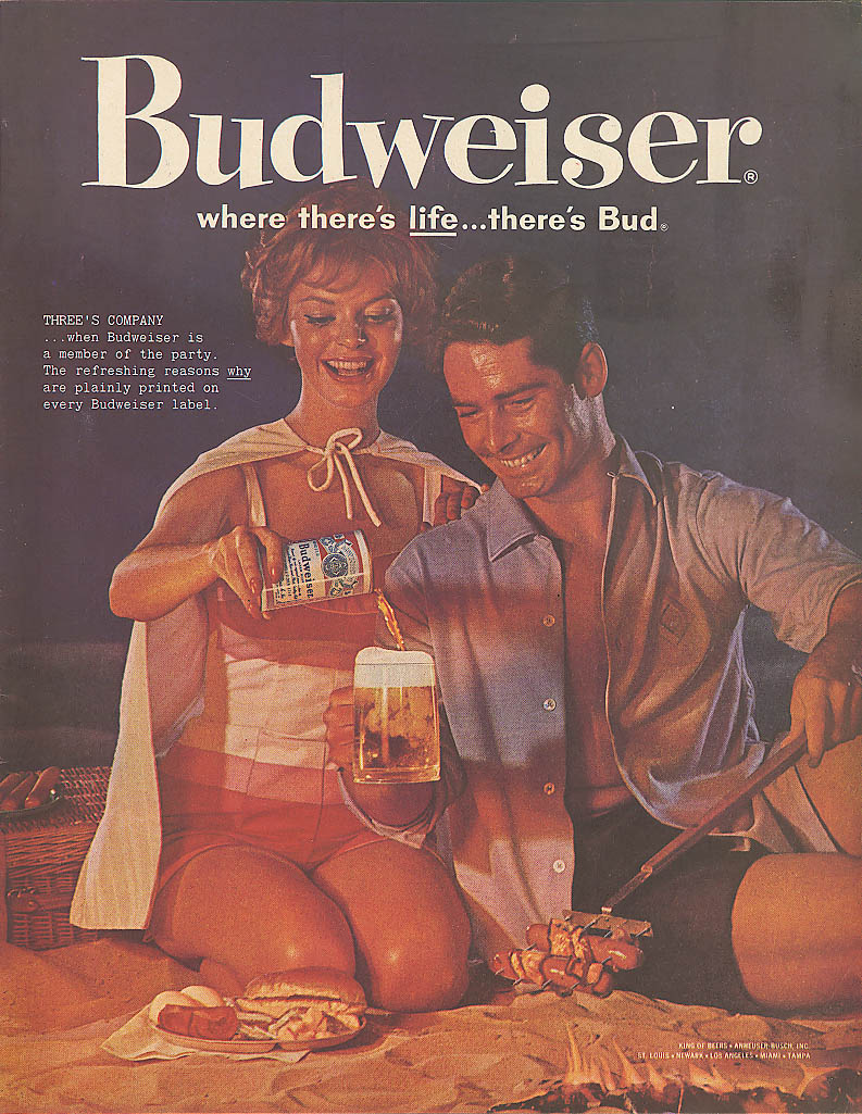 Couple beach hotdog cookout Budweiser beer ad 1960
