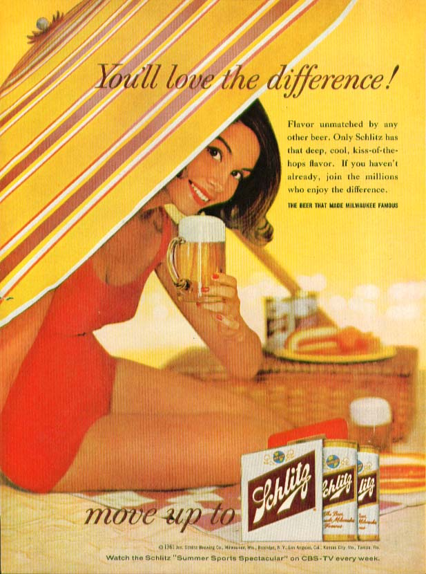 You'll love the difference! Schlitz Beer ad 1961 swimsuit girl beach umbrella