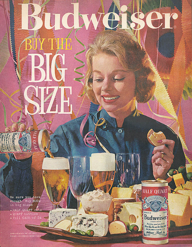 Blonde says Buy the Half Quart Budweiser beer ad 1961