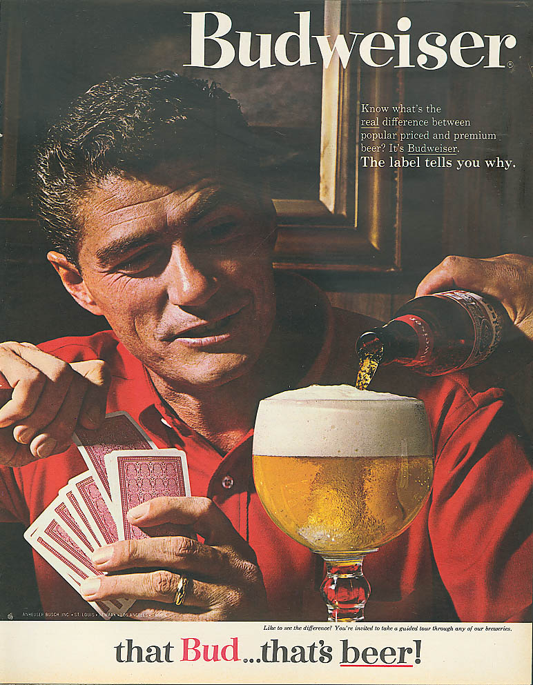 Image for Man playing gin rummy Budweiser beer ad 1964