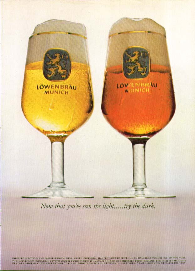 Now that you've seen the light  . . . Try the dark. Lowenbrau Beer ad 1965