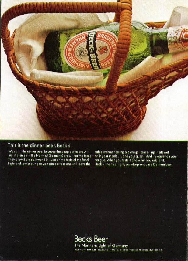 This is the dinner beer. Beck's Beer ad 1968