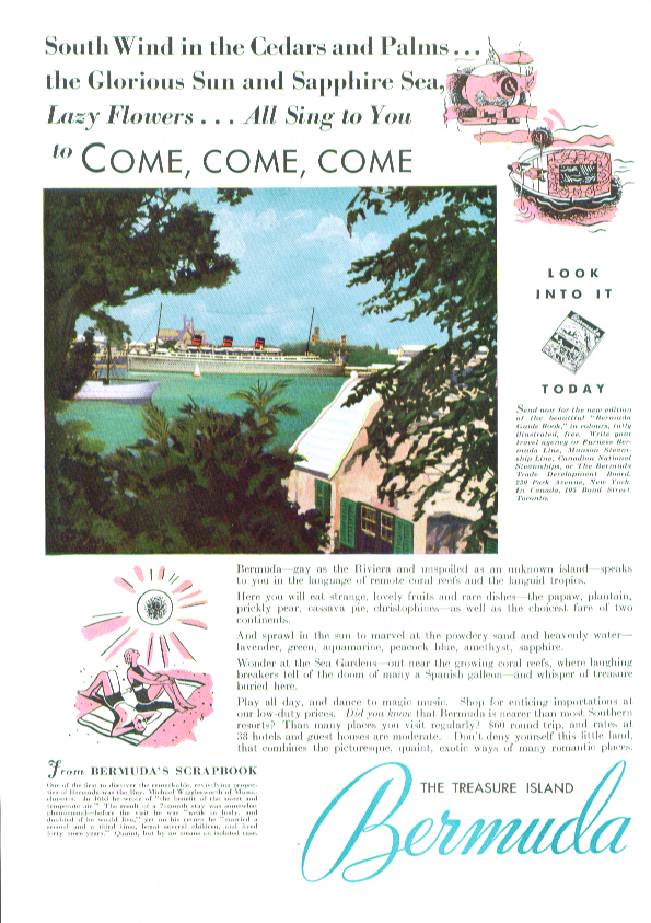 South Wind in the Cedars - Bermuda ad 1935