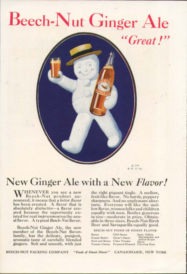 "Image for Beech-Nut Ginger Ale ""Great!"" New Flavor! Ad 1920"