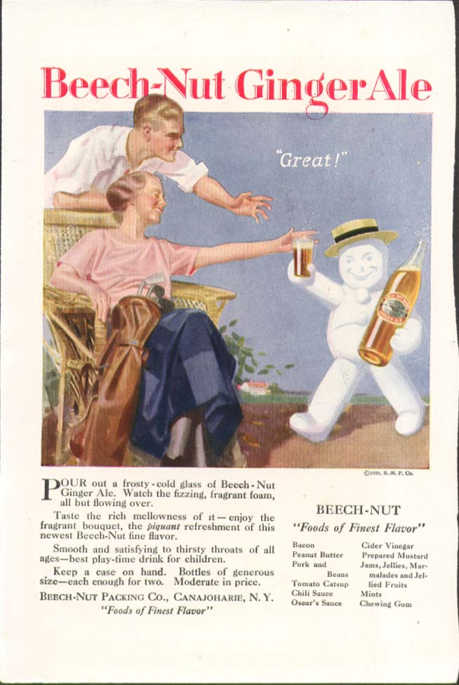 "Image for Beech-Nut Ginger Ale ""Great!"" ad 1920"