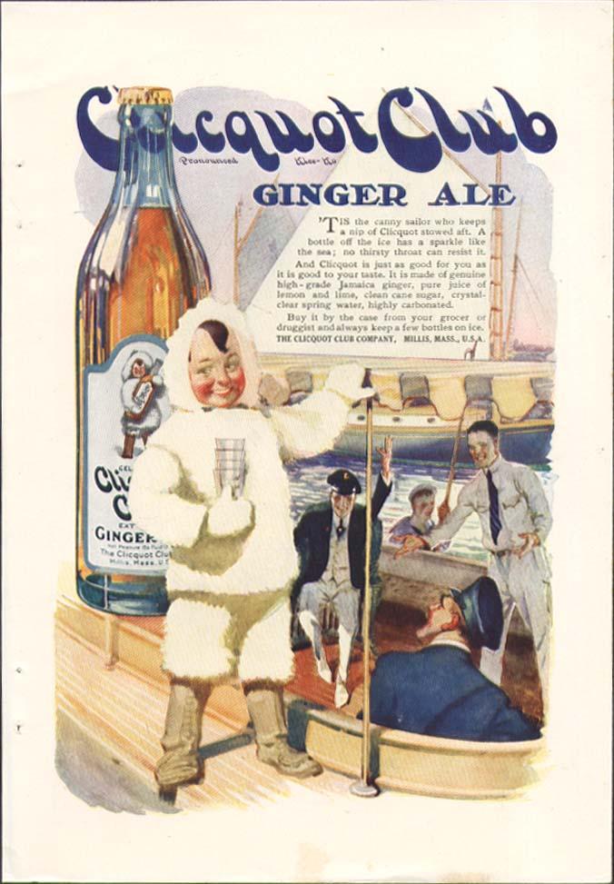 Image for Clicquot Club Ginger Ale eskimo & sailors ad 1920