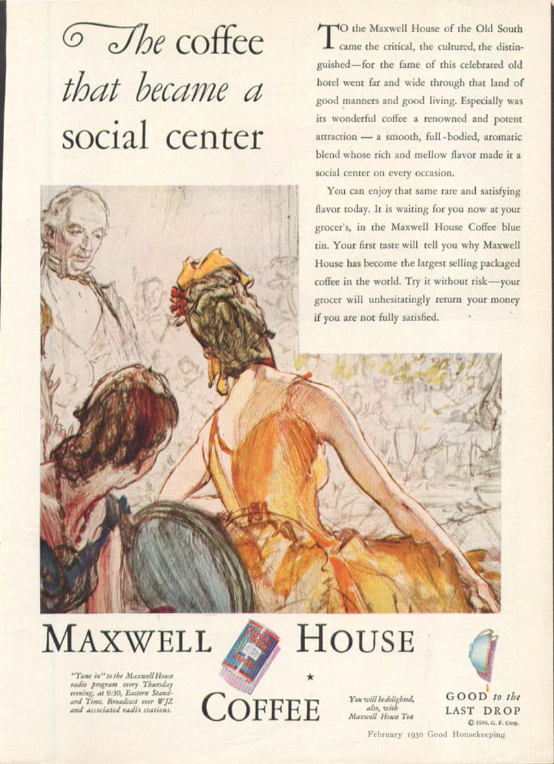 Image for Maxwell House Coffee social center ad 1930