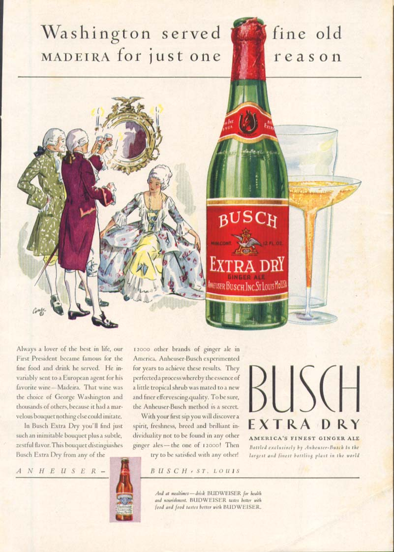 Image for Busch Extra Dry Ginger Ale George Washington ad 1931