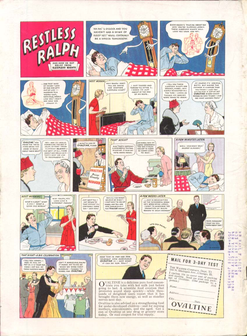 Image for Ovaltine Swiss Milk Food-Drink Restless Ralph ad 1935