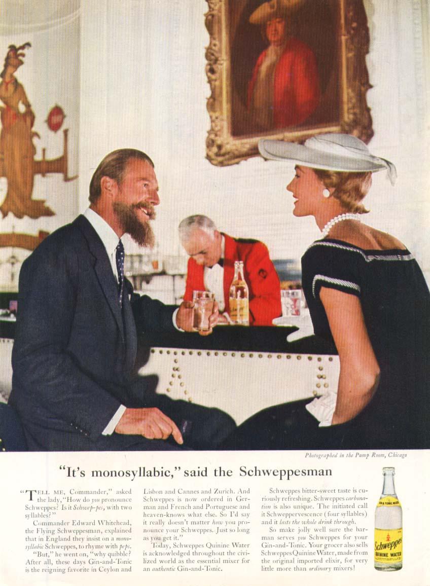 Image for Schweppes It's monosyllabic Schweppesman Tonic ad 1954
