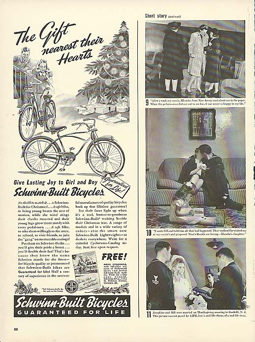 Image for The Gift nearest their hearts Schwinn bicycle ad 1941