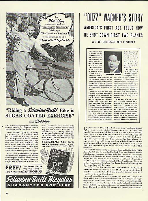 Bob Hope for Schwinn Lightweight bicycle ad 1941