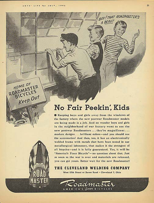 Image for No Fair Peekin' Kids Roadmaster bicycle ad 1945