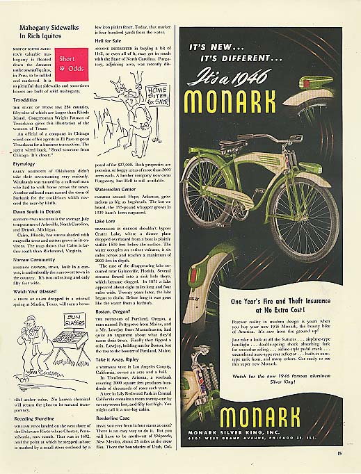 Image for It's New It's Different It's a 1946 Monark bicycle ad
