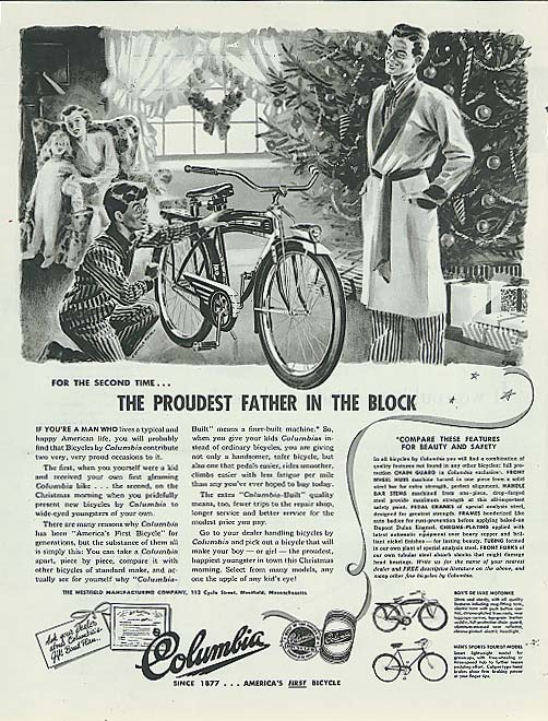 Image for Proudest Father on the Block Columbia bicycle ad 1947