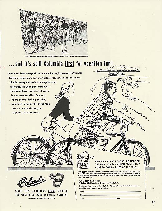 Image for First for vacation fun! Columbia bicycle ad 1947