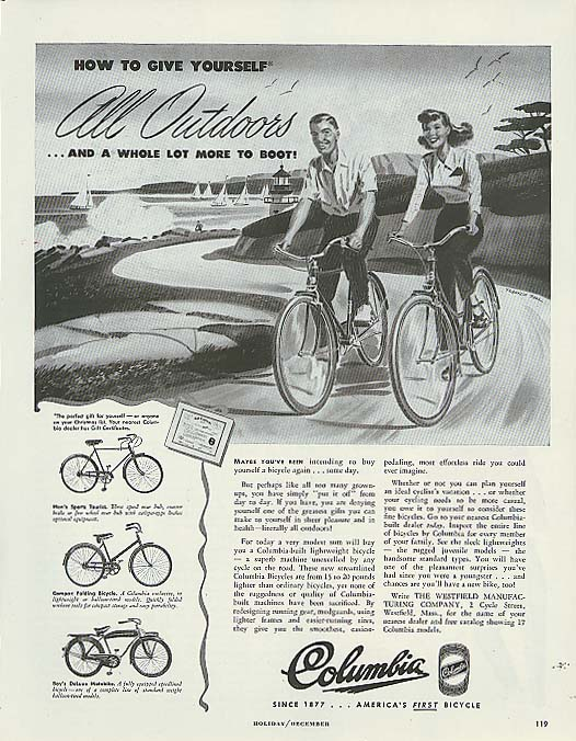 Image for Gove yourself All Outdoors Columbia bicycle ad 1947