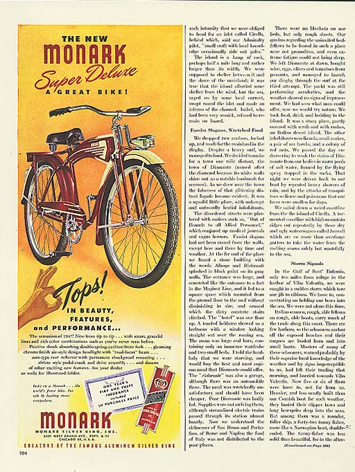 Image for Tops in beauty Monark Super Deluxe bicycle ad 1947