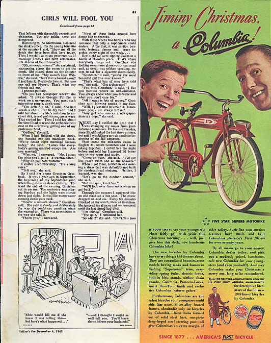 Image for Jiminy Christmas, a Columbia bicycle ad 1949