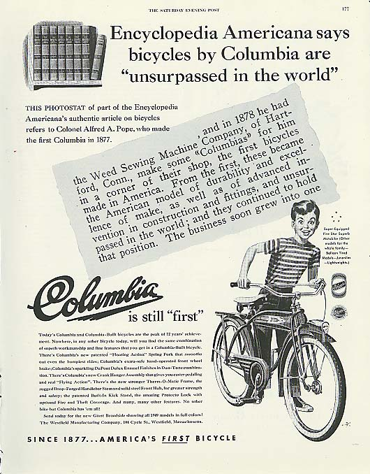 Image for Encyclopedia Americana says Columbia bicycle ad 1949