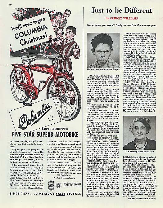 Columbia Motobike for Christmas bicycle ad 1949