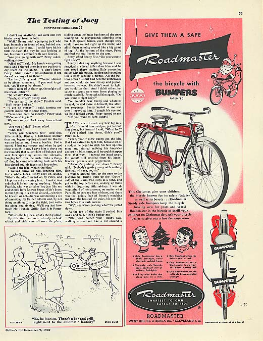 Image for Give them a Roadmaster bicycle with Bumpers ad 1950