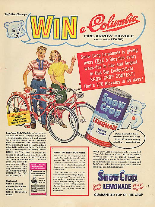 Image for Win a Columbia bicycle Snow Crop Lemonade ad 1957