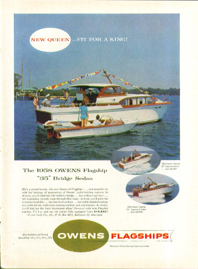 Image for New Queen fit for a King! Owens Flagship 35 Bridge Sedan power yacht ad 1957