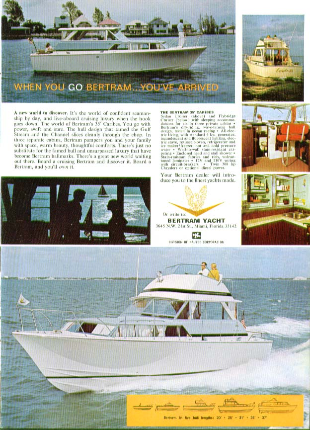 Image for When you go Bertram You've Arrived 35' Caribes power yacht ad 1968