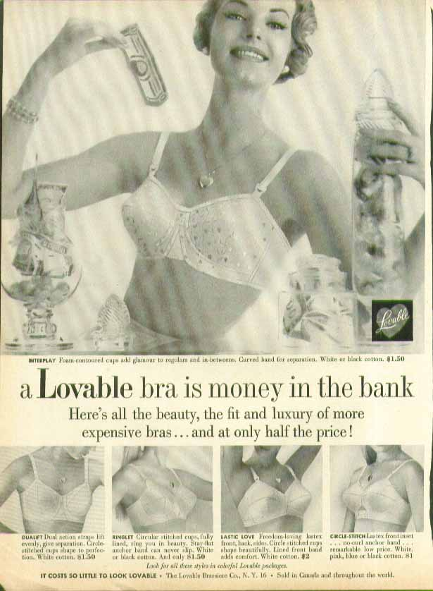A Lovable bra is money in the bank at only half the price bra ad 1959