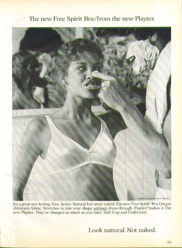 The new Free Spirit Bra from Playtex bra ad 1979 brushing teeth