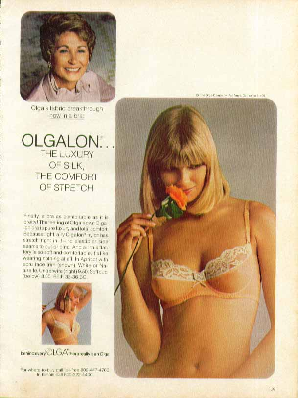 Olgalon the luxury of silk the comfort of stretch Olga bra ad 1979