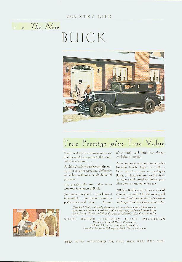 True Prestige plus True Value 1930 Buick ad