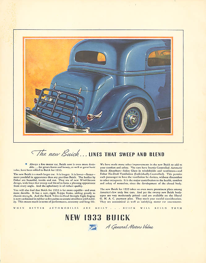 Lines that sweep and blend 1933 Buick ad