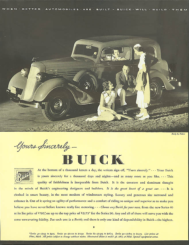 Image for Yours sincerely . . . 1934 Buick 2-door Sedan ad