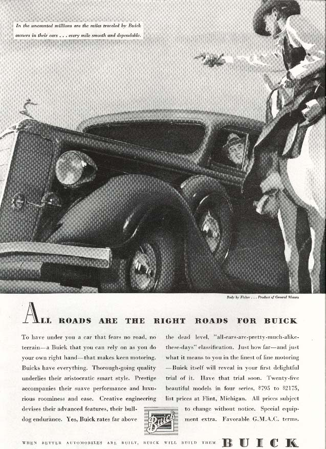 Buick All Roads Are The Right Roads ad 1935