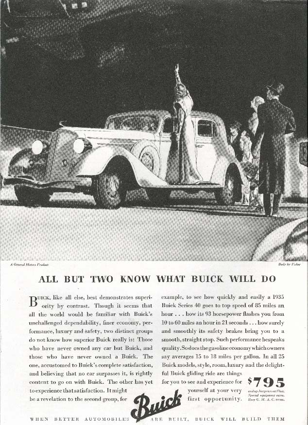 "Image for Buick ""40"" All But Two Know What Buick Will Do ad 1935"