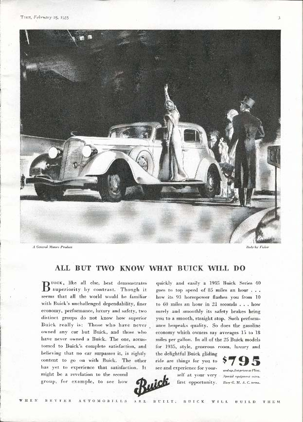 Image for Buick Series 40 All But Two Know Body by Fisher ad 1935